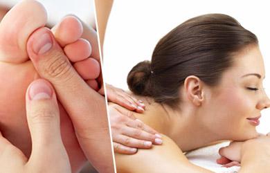 Masaje relajante antiestrés y masaje reflexológico podal