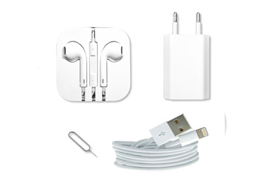 Kit para iphone: Auriculares, cable cargador y extractor SIM con