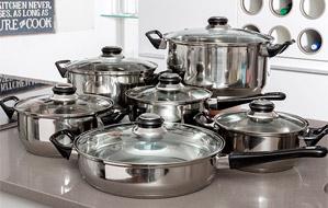 Batería de cocina de acero inoxidable de 12 piezas. Apta para coc