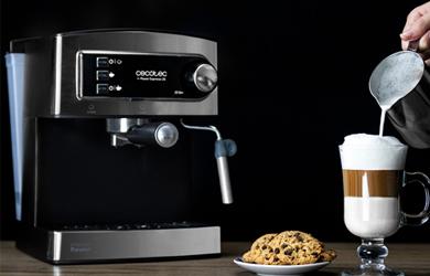 Cafetera express de color gris
