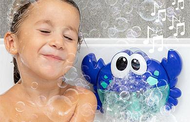 Cangrejo musical con pompas de jabón para baño