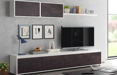 Mueble de salón color blanco artic y frentes óxido