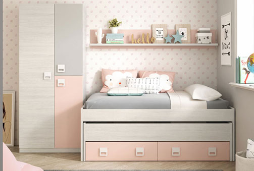 Composición juvenil compuesta por cama doble juvenil + estantería