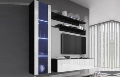 Conjunto mueble televisión más vitrina y estanterías