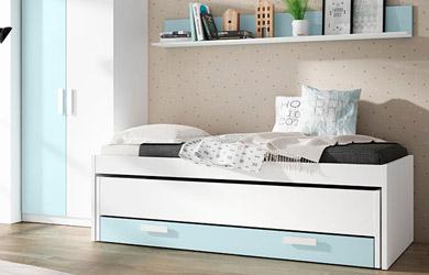 Dormitorio juvenil blanco y azul nube