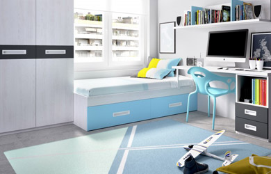 Completo dormitorio juvenil con armario y escritorio