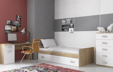 Dormitorio juvenil con terminación en cambria combinado frentes e
