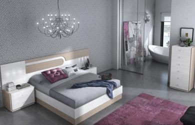 Dormitorio matrimonio en roble combinado con color blanco