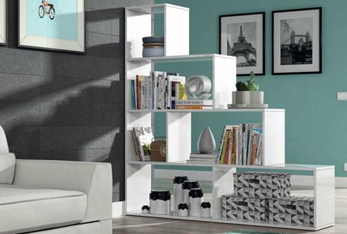 Moderna estantería blanca brillo o roble con 6 espacios