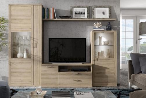 Mueble de salón de 260 cm con acabado en roble natural