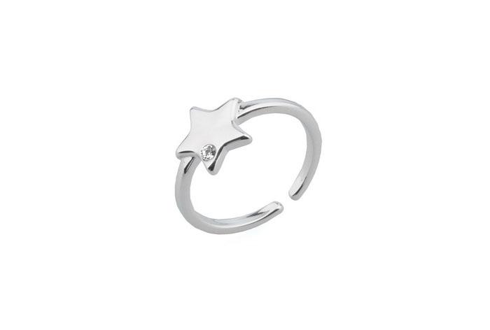 Anillo Estrella bañado en oro blanco 18k y cristales de Swarovski