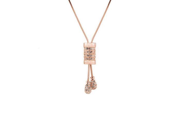 Colgante Farak bañado en oro rosa 18k  y cristales de Swarovski