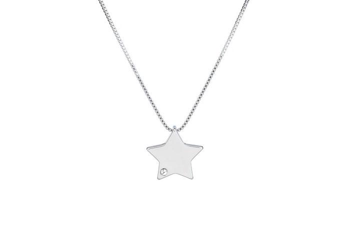 Colgante Estrella bañado en oro blanco  18k  y cristales de Swaro
