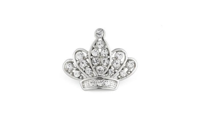 Broche Queen bañado en oro blanco 18k y cristales de Swarovsk