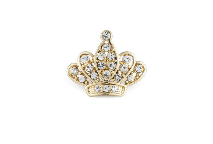 Broche Queen bañado en oro amarillo 18k y cristales de Swarovsk