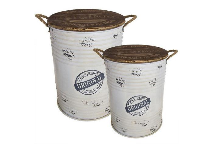 Juego 2 mesas contenedoras industrial crema