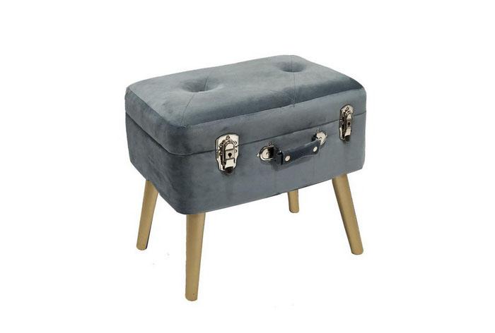 Banqueta maleta, terciopelo azul grisaceo.