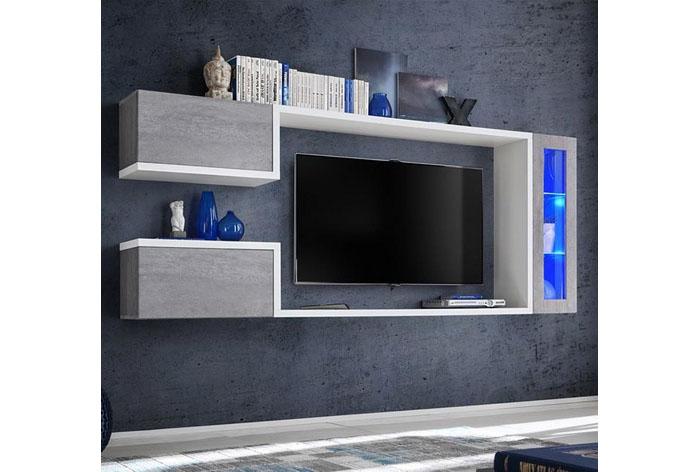 Mueble de salón modelo color blanco y gris cemento (2,3m)