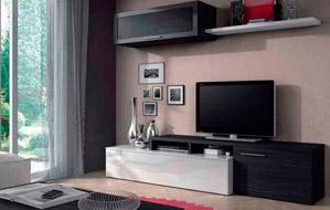 Librería de salón en 200 cms. de largo, en color blanco combinado