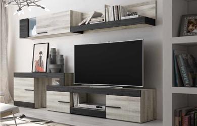 Conjunto de mueble de salón variable, estantería y alto puerta el