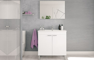 Mueble lavabo + espejo + lavabo color blanco brillo o nogal
