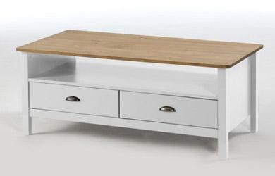 Mesa de centro con dos cajones de madera de pino