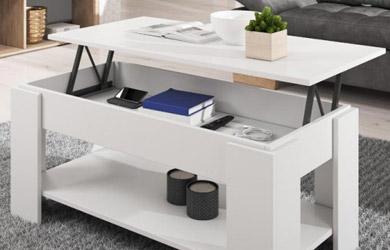 Mesa de centro elevable de color blanco