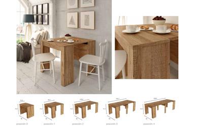 Mesa de comedor multifuncional extensible
