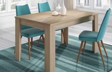 Mesa de comedor extensible en roble, gris ceniza o blanco brillo