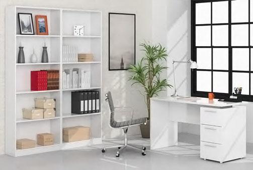 Mesa estudio en color blanco  con opción a estantería