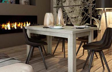 Elegante mesa de comedor en gris nórdico