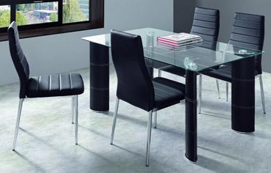 Conjunto de mesa rectangular fija de 140cm + 4 sillas