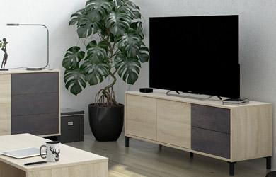 Mueble de TV roble canadian y óxido