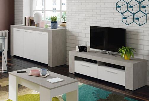 Mesa de TV Blanco Artik - Cemento
