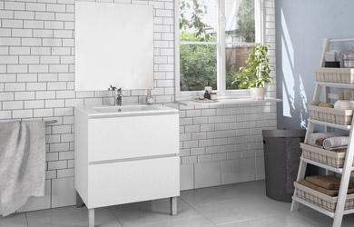 Mueble de 2 cajones + espejo + lavabo