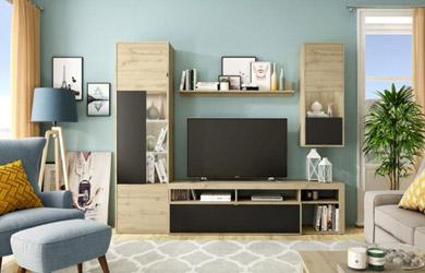 Mueble de salón de 266cm con detalles en negro