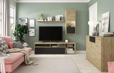Mueble de salón de 173cm con detalles en negro