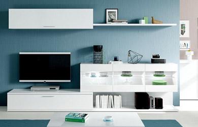 Mueble de salón blanco o roble con led