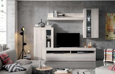 Mueble de salón color shamal y pizarra de 265 cm con led incluido