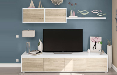 Mueble de salón color blanco artic y frentes roble canadian