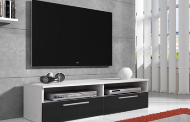 Mueble de TV en color blanco y negro con/sin LED
