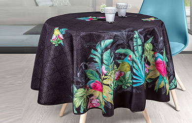 Mantel antimanchas Black Parrots redondo