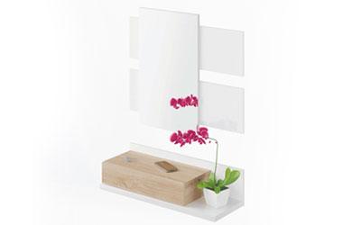 Mueble recibidor de blanco mate-color canadian  + espejo