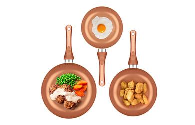 Juego de sartenes copper-efect de 5 piezas
