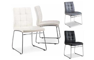 Lote de 4 sillas tapizadas en simil piel. <b> Diferentes colores