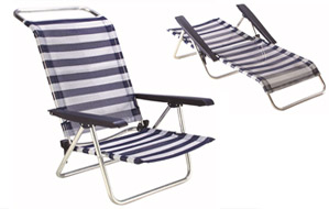 Silla de playa de aluminio reclinable 4 posiciones convertible en