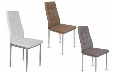 Lote de 4 sillas en polipiel blanca o tela gris/marrón