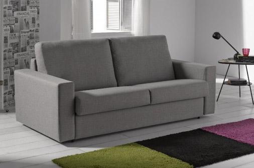 Elegante sofá tres plazas de diseño recto tapizado en tela. Vario