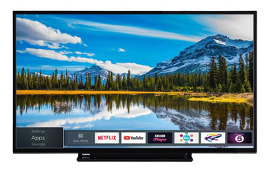 """Smart TV Toshiba 49"""" led full HD con wifi de color negro"""